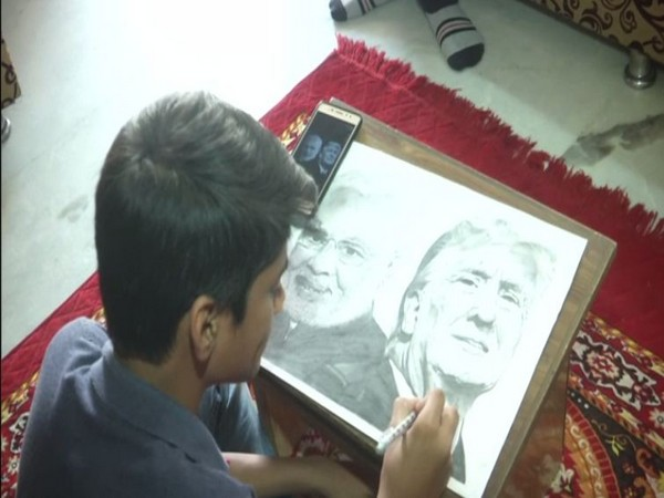 The sketch of Trump and Modi took artist Mahir Patel 30 hours to complete. Photo/ANI