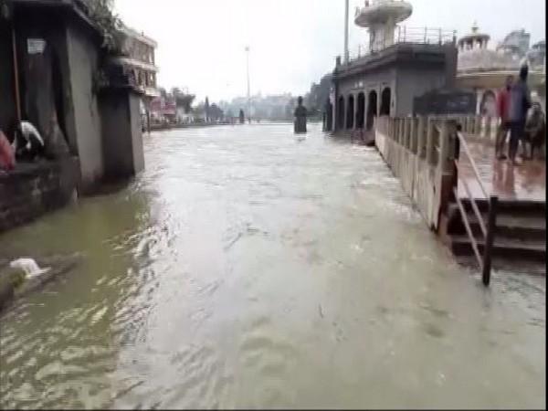 Visual of waterlogging due to heavy rains. (Photo/ANI)