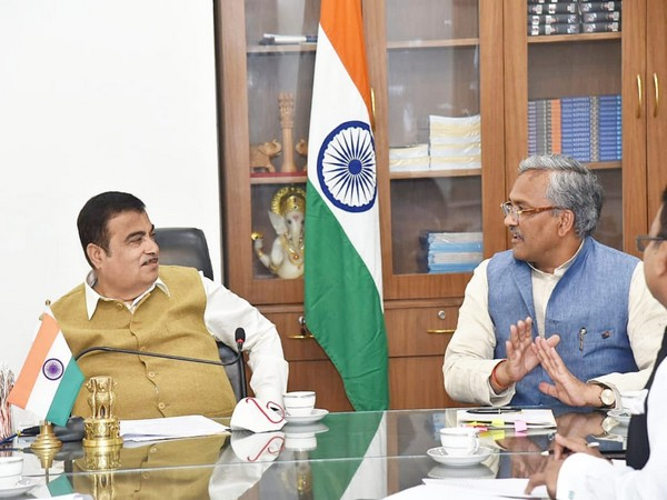 Uttarakhand CM in a meeting with Union Minister Nitin Gadkari on Tuesday.