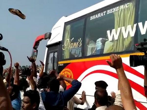 A slipper was hurled at Chandrababu Naidu's bus in Amaravati on Thursday. Photo/ANI