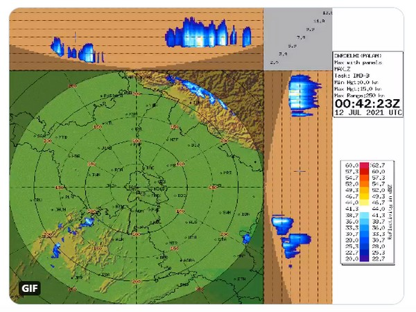 Visual representation of rainfall likely to occur in parts of India (Photo/IMD)
