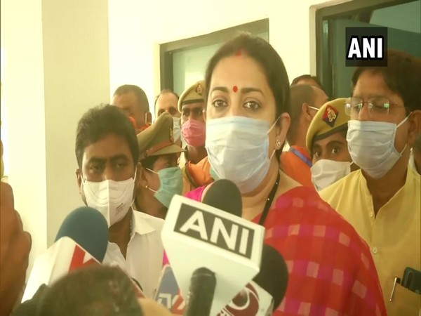 Union Minister Smriti Irani speaking to reporters in Amethi on Tuesday. (Photo/ANI)