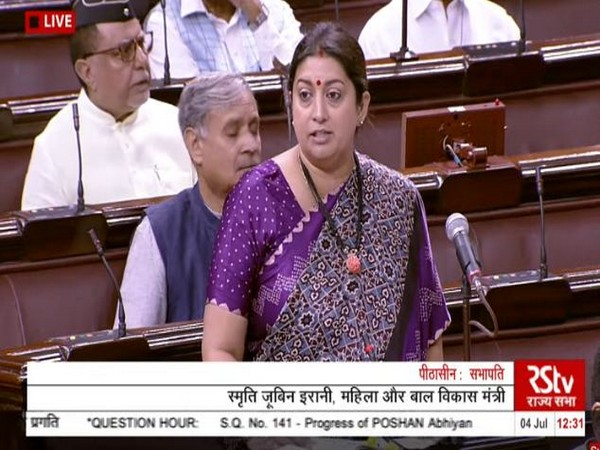 Women and Child Development Minister Smriti Irani in Rajya Sabha on Thursday. (Courtesy: Rajya Sabha)