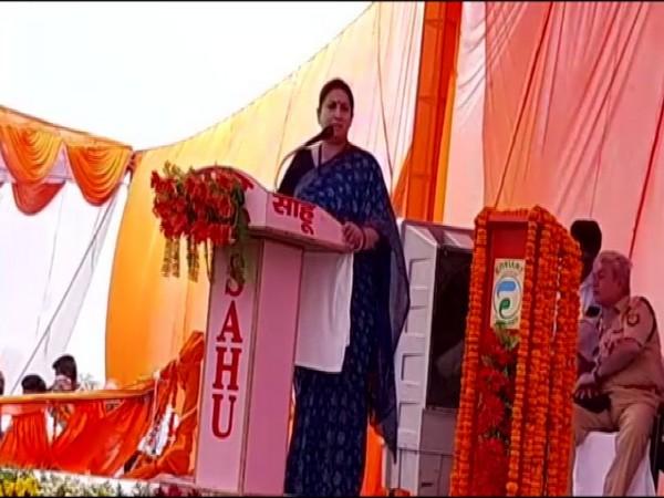 Smriti Irani speaking at a meeting in Amethi on Saturday. Photo/ANI