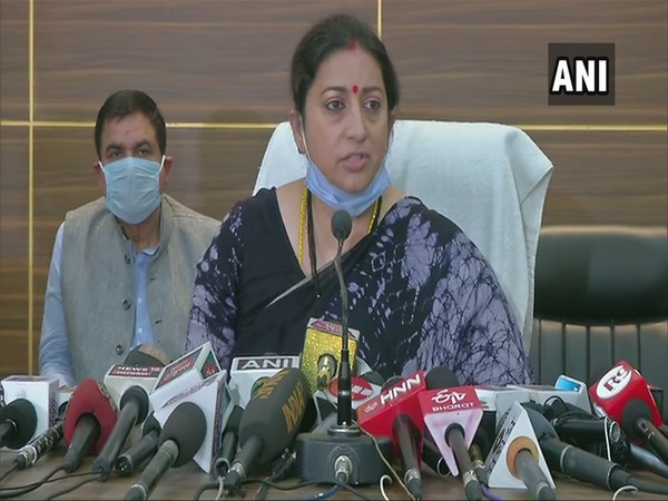 Union Minister Smriti Irani spoke to the media on the Hathras incident today. (Photo/ANI)