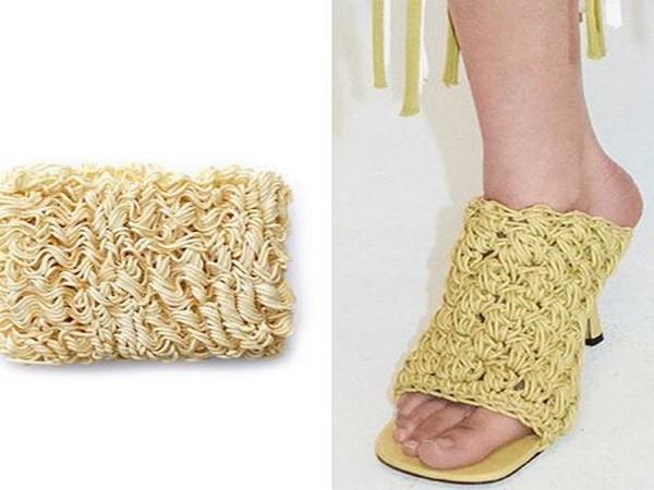 A picture of uncooked Ramen and Bottega Veneta's macrame sandals (Picture Courtesy: Diet Prada's Instagram)