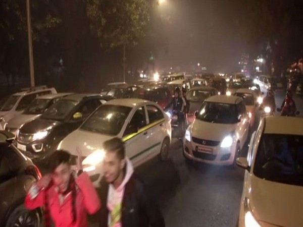 Traffic snarl witnessed in CP area of New Delhi on Wednesday