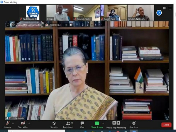 Congress President Sonia Gandhi in a video conference on Friday.