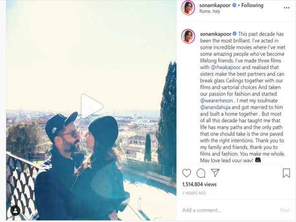 The actress is seen displaying some intimate affection towards her soul mate Anand Ahuja (Picture courtesy: Instagram)