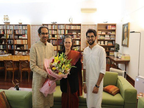Uddhav Thackeray and Aaditya Thackeray met Sonia Gandhi in Delhi. Photo/ANI