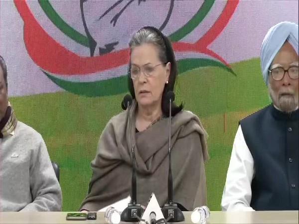 Congress interim president Sonia Gandhi addresses a press conference in New Delhi on Wednesday [Photo/ANI]