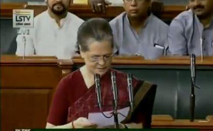 Congress MP from Uttar Pradesh's Rae Bareli, Sonia Gandhi takes oath as Member of Parliament on Tuesday. Image courtesy: Lok Sabha TV