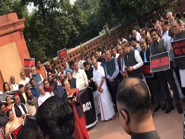 Visuals from Opposition protest at Parliament,