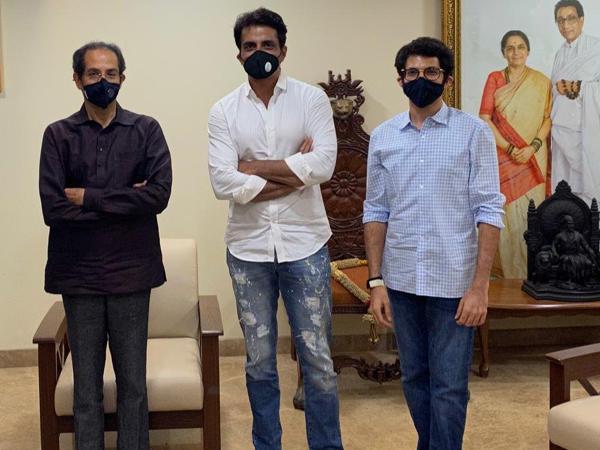 Actor Sonu Sood with Maharashtra Chief Minister Uddhav Thackeray and State Minister Aaditya Thackeray
