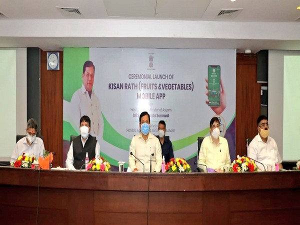 Assam Chief Minister Sarbananda Sonowal along with Ministers and other officials during App launch event. (Photo credit: Twitter/CMO Assam)