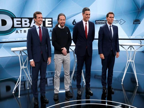 Main candidates for Spanish general elections 2019 pose before a televised debate in Madrid, Spain on April 23 (Photo/Reuters)