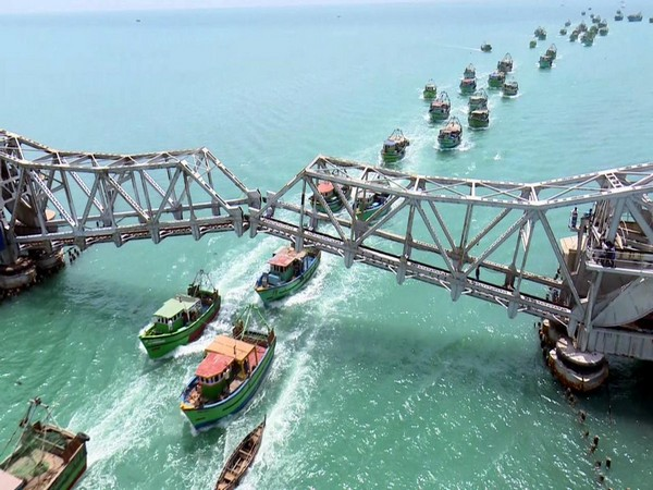 Five dug ships along with 75 fishing boats crossed the Pamban Rail Bridge after the Scherzer's span was lifted on June 28. (Photo: ANI)