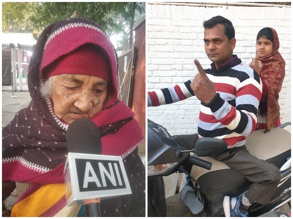 Visuals of voters who cast their votes today. Photo/ANI