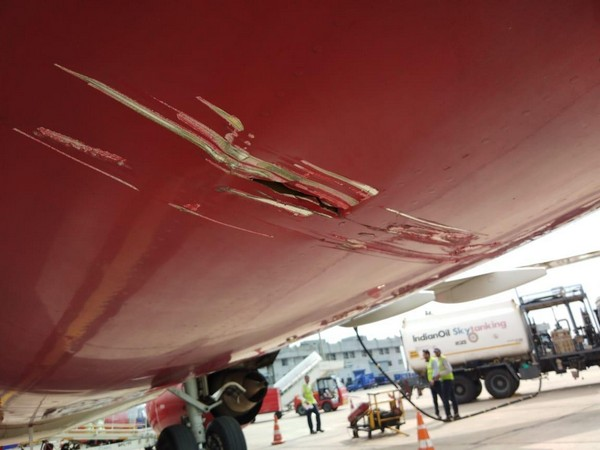 The damaged portion of the SpiceJet Boeing 737 aircraft