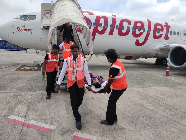 Passenger being rushed to hospital for treatment