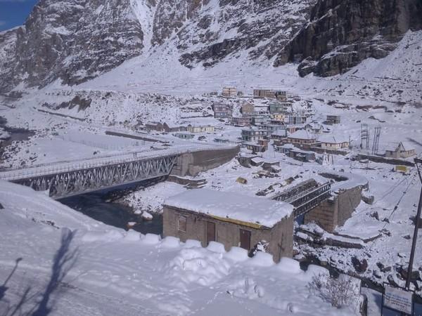 Lahaul-Spiti region receives fresh snowfall. Photo/ANI