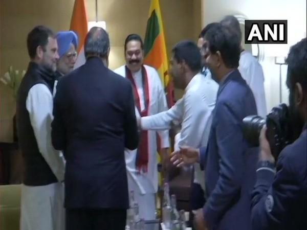 Sri Lankan PM Mahinda Rajapaksa with Manmohan Singh, Rahul Gandhi and Anand Sharma in Delhi on Friday
