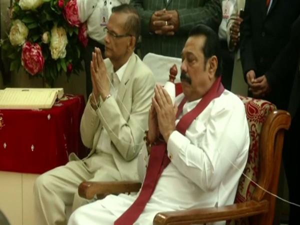 Sri Lankan Prime Minister Mahinda Rajapaksa at Sarnath Buddhist Temple in Varanasi on Sunday