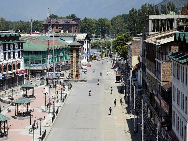 A deserted view of a closed market in Srinagar, Jammu and Kashmir. (ANI Photo)