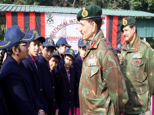 Students interacting with Lt Gen YK Joshi in Udhampur on Monday.