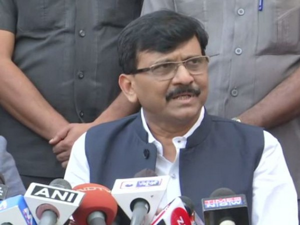 Shiv Sena leader Sanjay Raut addressing media persons after meting the Governor in Mumbai on Monday. Photo/ANI