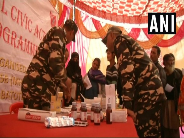 Hundreds of people avail medical services provided by Sashastra Seema Bal (SSB) as part of their 'Medical Civic Action Programme' in Khellani village in Doda district on Thursday.