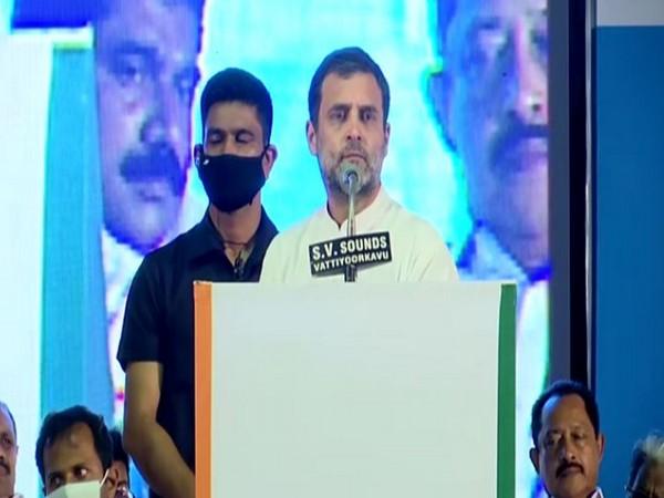 Congress leader Rahul Gandhi addressing a gathering in Thiruvananthapuram on Tuesday.