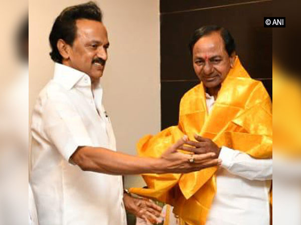 M K Stalin with Telangana chief minister KCR. File Photo/ANI