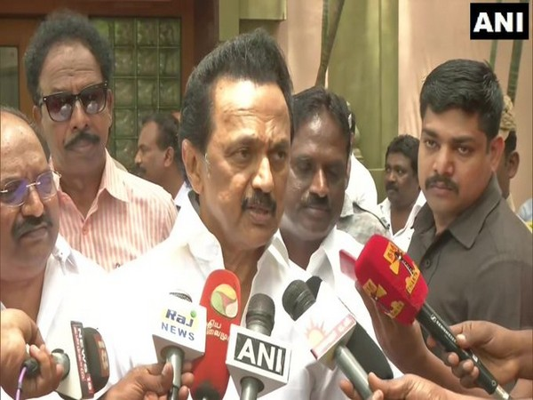 DMK chief MK Stalin speaking to reporters in Chennai on Saturday. Photo/ANI