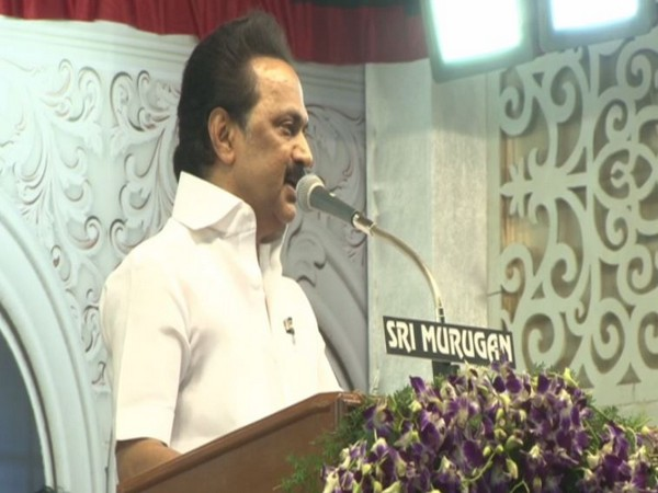 M K Stalin speaking at the event in Madurai.