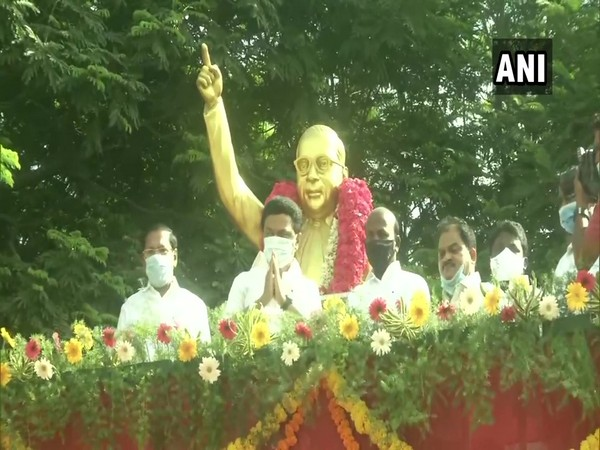 DMK president MK Stalin after paying paid floral tribute to BR Ambedkar on Wednesday. (Photo/ANI)