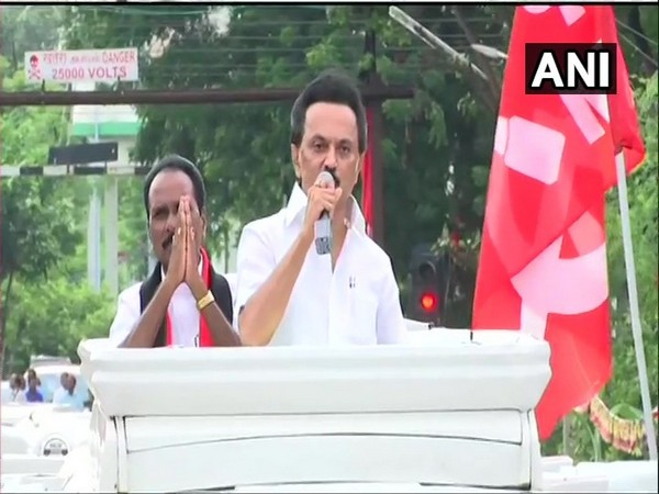DMK chief MK Stalin at an election rally in Vikravandi on Saturday