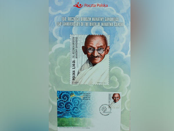 A commemorative stamp issued on the 150th Birth Anniversary of Mahatma Gandhi (Picture Credits: India in Poland/Twitter)