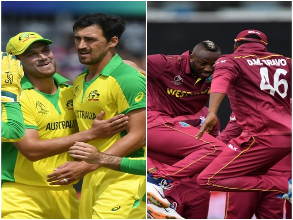 Australia's Mitchell Starc (L) and West Indies' Andre Russell (R)
