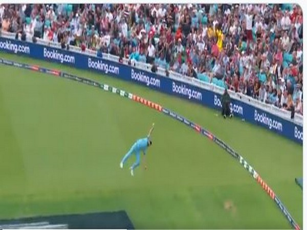 England all-rounder Ben Stokes takes a catch. (Photo/ ICC Twitter)