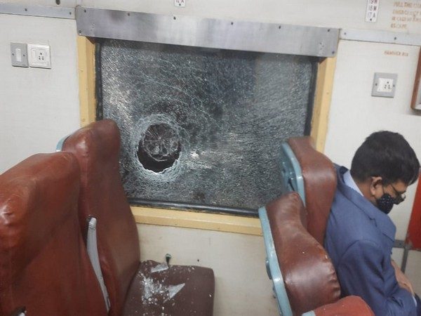 Broken window of Intercity Express after the incident.