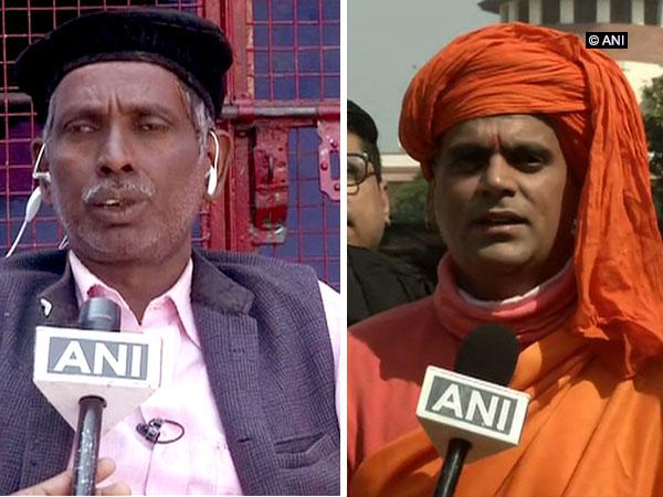 Iqbal Ansari and Swami Chakrapani, the litigants in the dispute talking to ANI on Friday (Photo/ANI)
