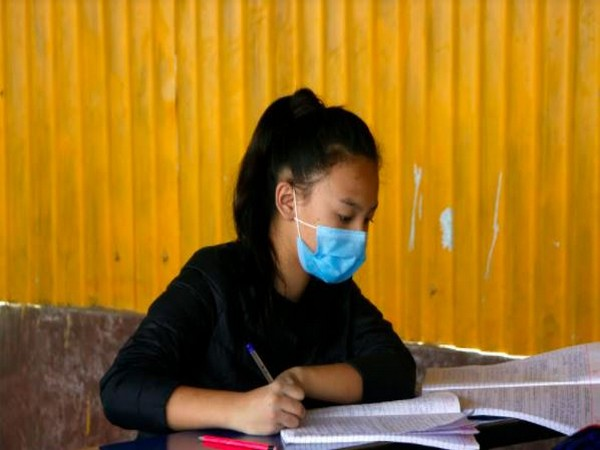 A school student at a Nepal school amid COVID-19 pandemic. Photo/ANI