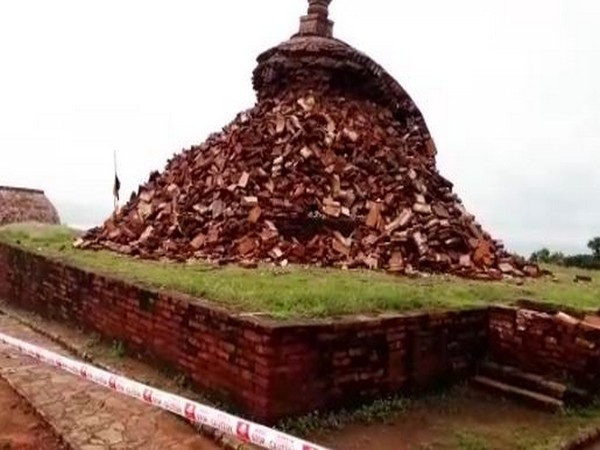 A major part of Buddhist Stupa has collapsed due to heavy rainfall. Photo/ANI