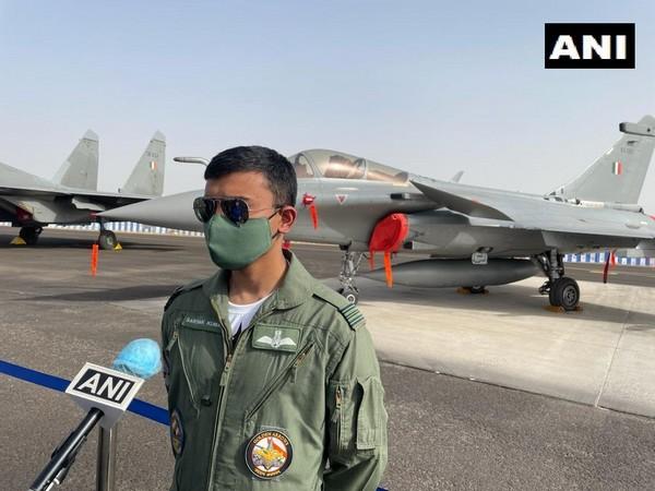 IAF Rafale fighter jet pilot Squadron Leader Sarthak Kumar speaking to ANI in Jodhpur on Saturday. (Photo/ANI)