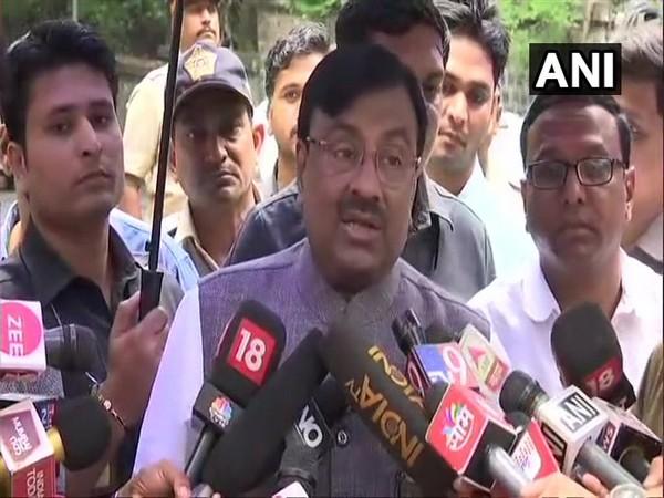 BJP leader Sudhir Mungantiwar talking to reporters in Mumbai on Friday