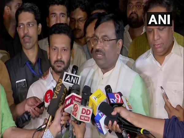 BJP leader Sudhir Mungantiwar talking to media persons in Mumbai on Monday