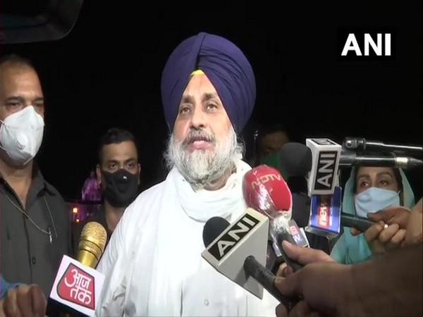 SAD president Sukhbir Singh Badal speaking to reporters in New Delhi on Thursday.