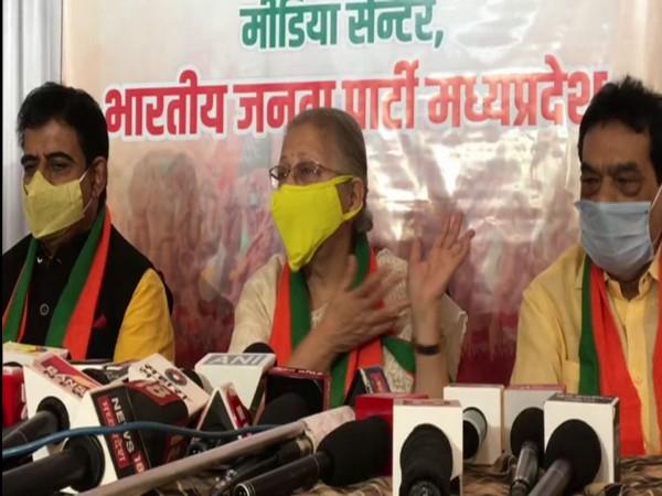 BJP leader Sumitra Mahajan at a press conference in Indore on Sunday. (Photo/ANI)