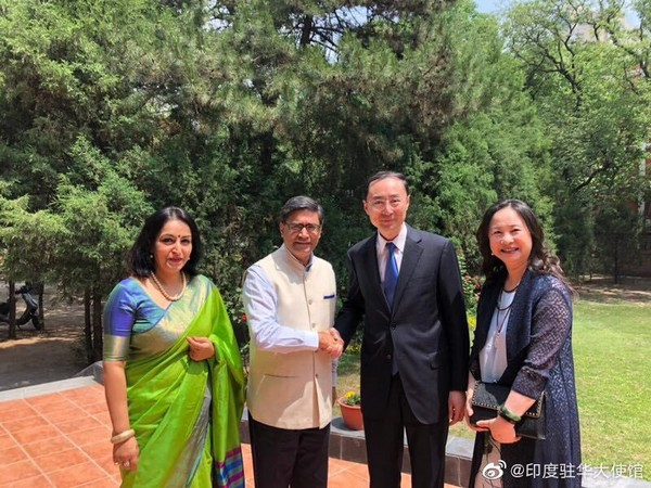 India's Ambassador to China Vikram Misri along with newly appointed Chinese Ambassador to India, Sun Weidong at India House in Beijing. (Photo/Vikram Misri's Twitter)